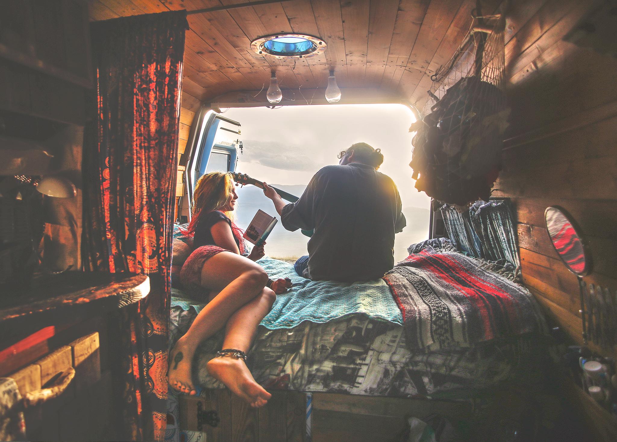 Playing Guitar in Van