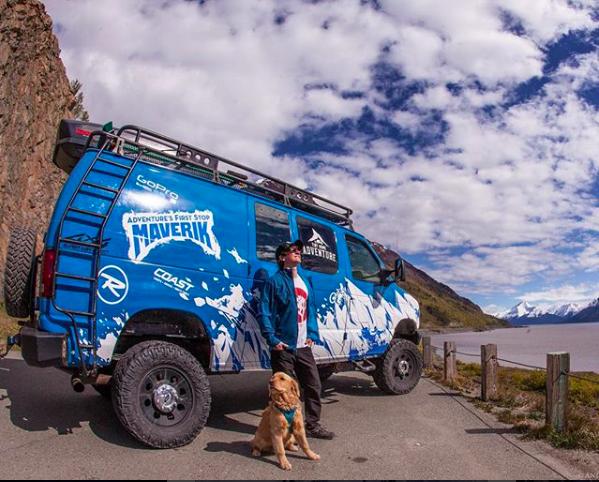dog adventures in a van