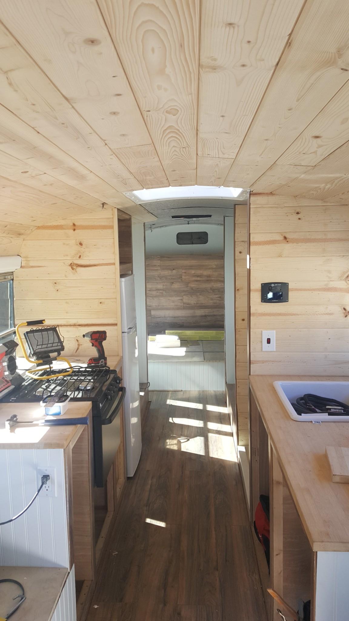 bus wood ceiling