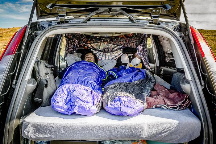 camping in van with sleeping bags