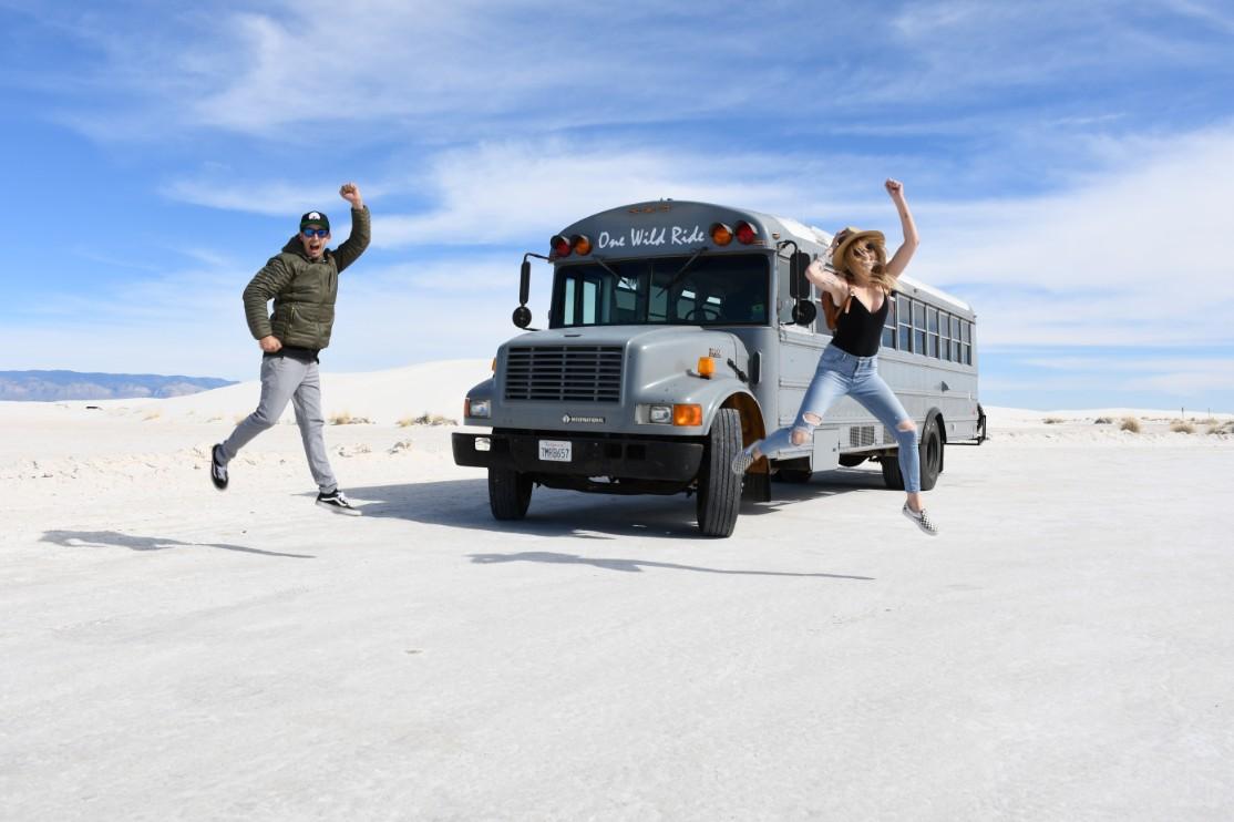school bus in desert