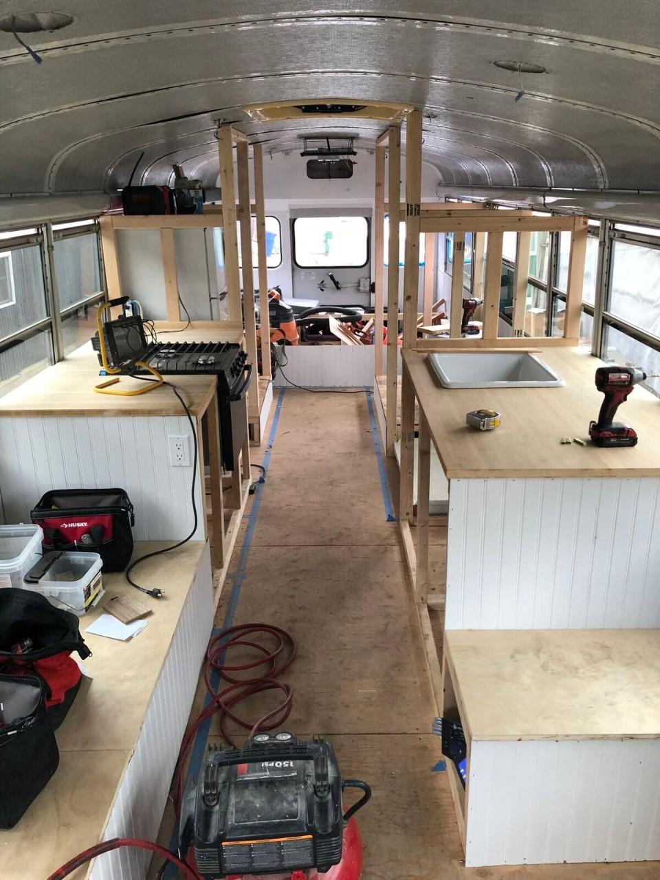 skoolie camper conversion framaing