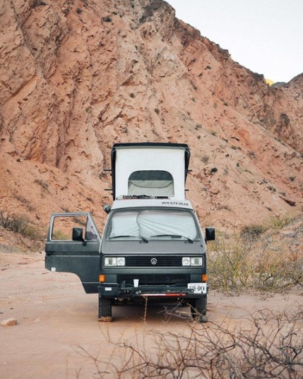 vw westfalia van in desert