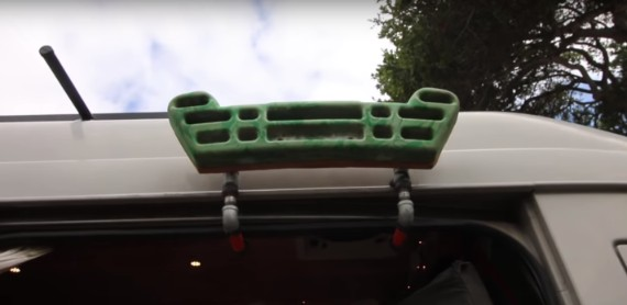 climbing hangboard on van