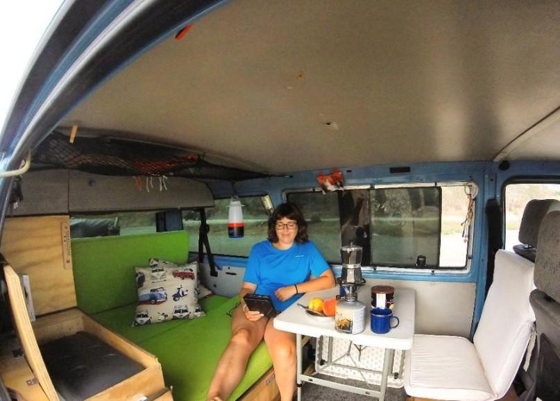 working in van