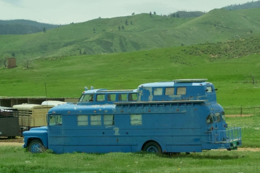 weird skoolie school bus conversion