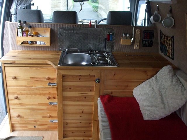 traditional van kitchen parallel to front seats