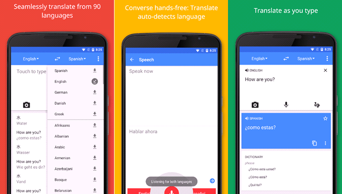 Google Translate app screenshot for Top Vanlife Apps
