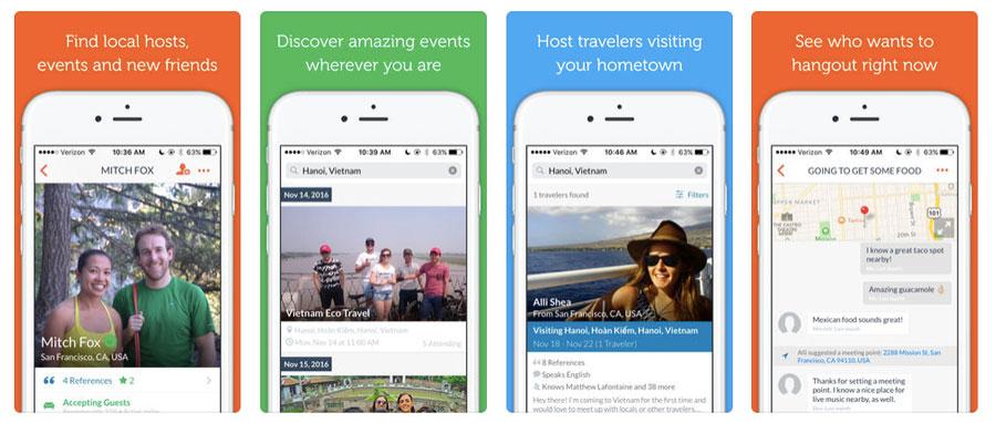 Couchsurfing app screenshots for Top Vanlife Apps