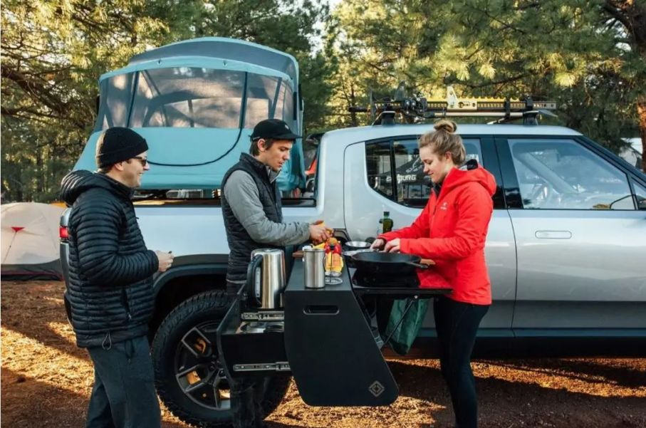 Rivian RT1 truck cooking