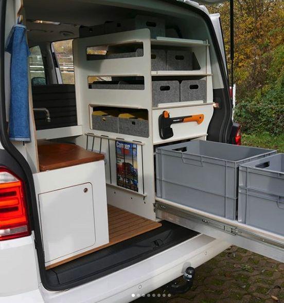 Queensize Camper Inside Two VW T6 camper van modules