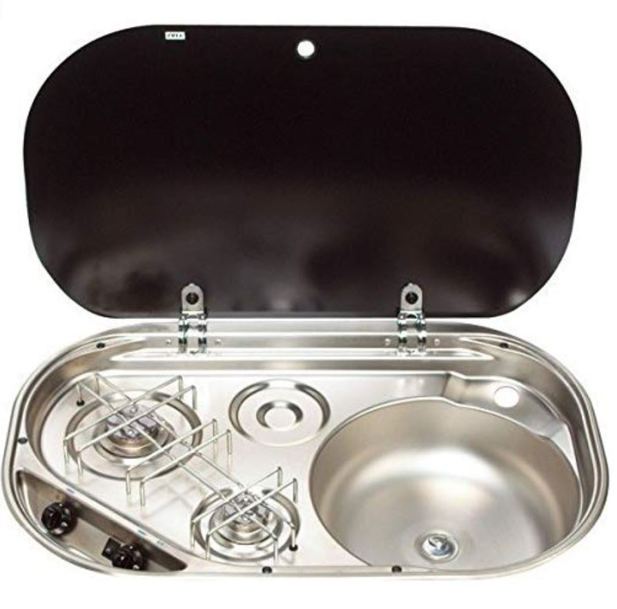 Dometic 2-Burner Sink Stove Combination with Glass Lid